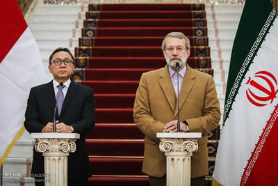 Iran Speaker Ali Larijani with Zulkifli Hasan of Indonesia