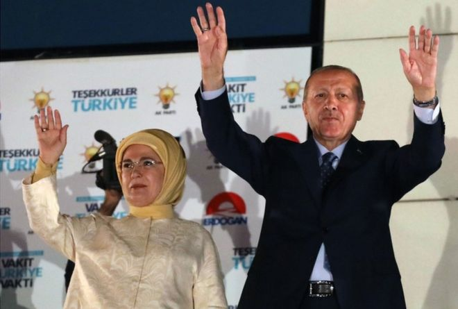Turkey Erdogan and wife June 2018 after victory