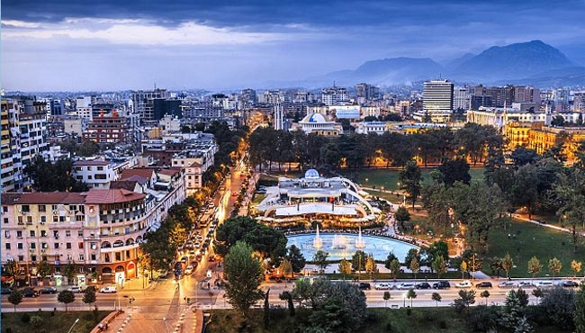 An aerial view of Tirana