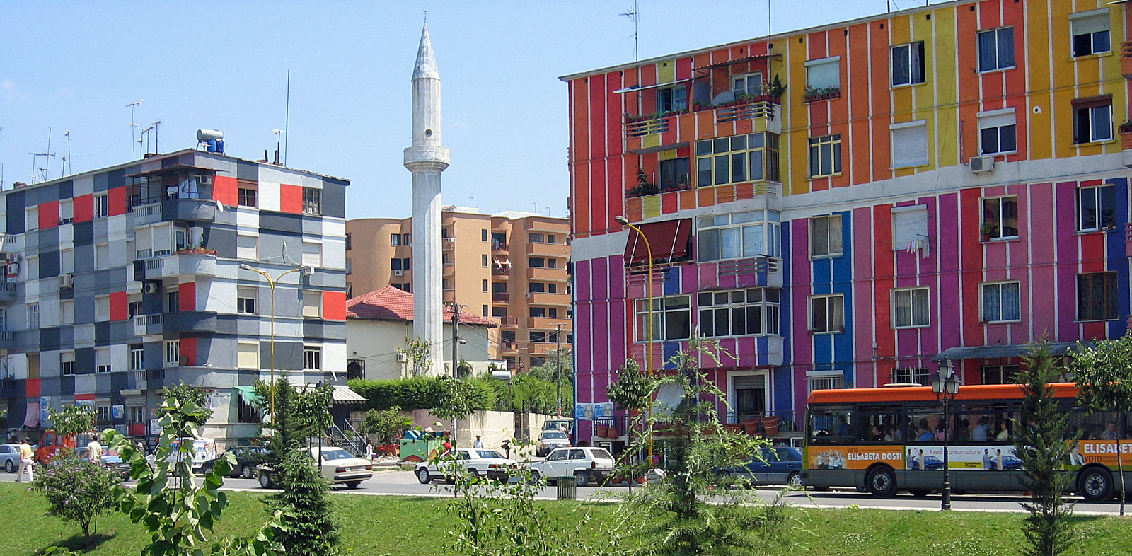 Tirana - Colourful houses at Lana river